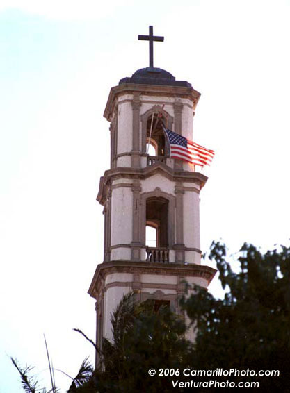 Camarillo Church with American Flag